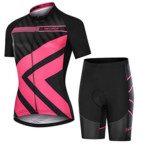 SKYSPER Women's Cycling Jerseys Suit Short Sleeve Cycling Clothing Cycle Tops Quick-Dry with 3D Cushion Shorts Padded Pants for Riding Racing Mountain Bike