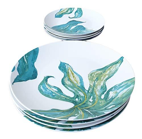LA VITA VIVA Plato llano de porcelana de 27 cm de diámetro con motivos orientales de hojas Green Love en juego de 4