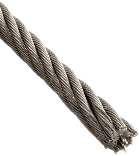 """Loos Stainless Steel 316 Wire Rope, 7x7 Strand Core, 0.094"""" Bare OD, 25' Length, 700 lbs Breaking Strength"""