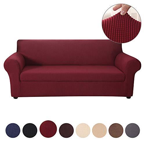 NIBESSER Sofabezug Sofaüberwurf Jacquard elastisch Stretch Sofabezug Wohnzimmermöbel Beschützer Jacquard Spandex Stoff 2er Set (Sofabezug + Sitzkissen bezug)