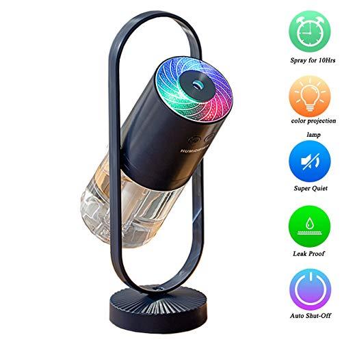 Mini humidificador portátil:pequeño humidificador de vapor frío de 200ml con luz nocturna,humidificador de escritorio personal usb para el hogar de la oficina de viajes del dormitorio del bebé