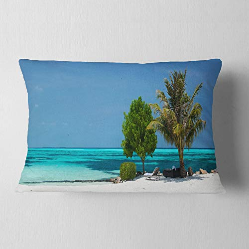Designart Beach With White Sand And Turquoise Water Modern Seascape Throw Lumbar Cushion Pillow Cover For Living Room Sofa 12 X 20 Shefinds