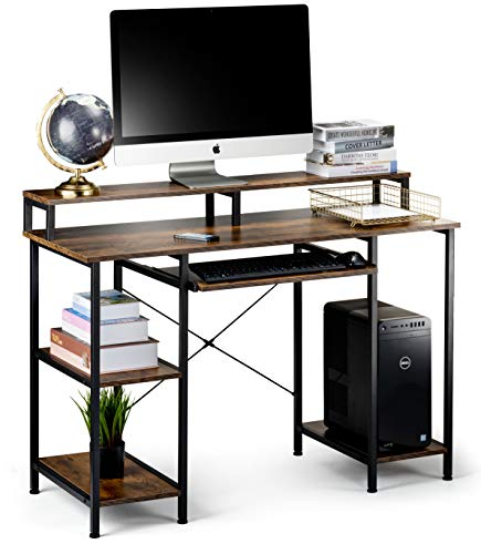 Computer Desk with Storage Shelves and Keyboard Tray, Hutch Shelf Monitor Stand, 47 Inch Studying Writing Desk, Working Study Table for Home Office, Rustic Brown
