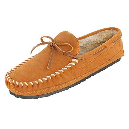 Minnetonka Men's Casey Moccasin Slippers Cinnamon 10 M