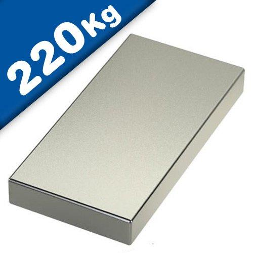 Imán Rectángulo Bloque magnético Neodimio - 80 x 40 x 20mm - Neodimio N52 (NdFeB) Níquel - Fuerza de sujeción 220 kg - Imanes permanentes super potentes de Tierras Raras para la industria y el hogar