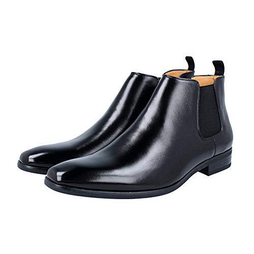 [RS] ビジネスシューズ ハイカット ブーツ 革靴 メンズ 紳士靴 ビジカジ (サイドゴア黒, 30.0cm)