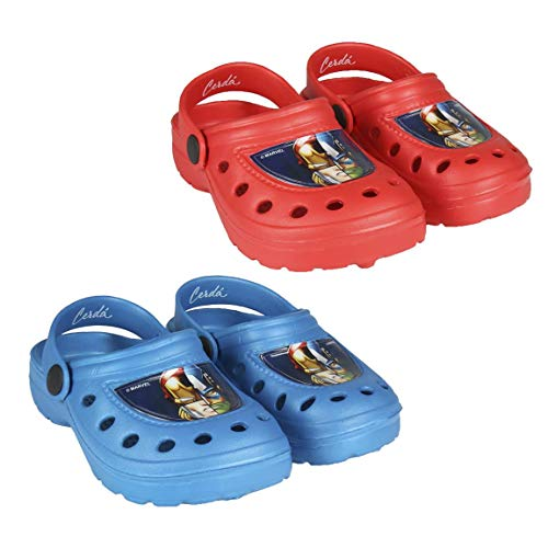 takestop® Crocs Hausschuhe Meer Gummi rutschfest Avengers Marvel Iron Man Captain America Thor Hulk Blau Rot Cartoon Marvel Pool Meer Kinder Unisex, Blau - blau - Größe: 24 1/3 EU