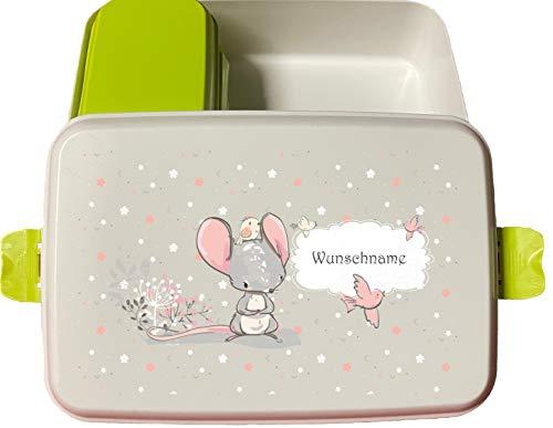 wolga-kreativ Brotdose Bio Kunststoff Maus mit Obsteinsatz für Jungen Mädchen Lunchbox Bento Box personalisiert Brotbüchse Brotdosen Kindergarten Schule mit Namen Bedruckt