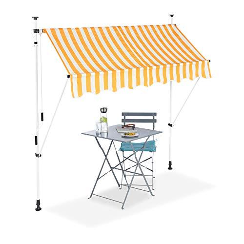 Relaxdays Tenda da Sole, Protezione per Il Balcone, Regolabile, Senza Forare, a Manovella, Larga 200 cm, a Righe, Giallo/Bianco, 200 x 120 cm