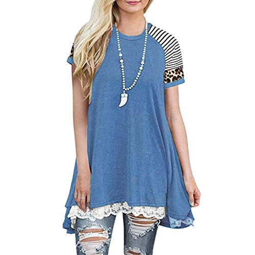 Best Prices! JOYFEEL Womens Tops Short Sleeve Lace Trim Crewneck A-Line Tunic Blouse Leopard Stripe ...