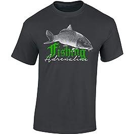 T-Shirt: Fishing Adrenaline – Cadeau pour Un Pêcheur – Poisson – Pêcheuse – Tee-Shirt Homme-s Femme-s – Carpe – Pêche-r…