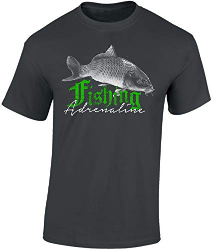 Baddery Camiseta: Fishing Adrenaline - Carpa - Pescado - T-Shirt Hombre-s y Mujer-es - Pescador - Trabajo - Pesca - Regalo para Pescador - Lucio - Trucha - Caña - Pescadora - Mar (L)