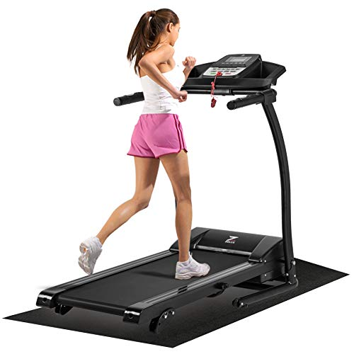 ZELUS 1100W Folding Treadmill for Home Gym with 3 Level Incline, Heart Monitor, Portable Electric Running Machine, Treadmill Foldable with Cup/Phone Holders/Mat