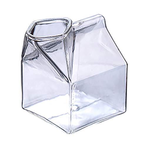 Milchglas Tasse quadratisch hitzebeständig Glas Milchglas Milchbox Glas Becher Milchbox Mini Milchkännchen Kartonbehälter (A)