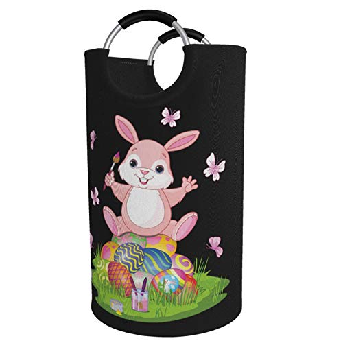 Sunmuchen Pink Easter Bunny and Eggs Laundry Basket,Waterproof Large Laundry Hamper Storage Bin Organizer Basket for Clothes,Toys,Bedroom,Bathroom,with Aluminium Handles