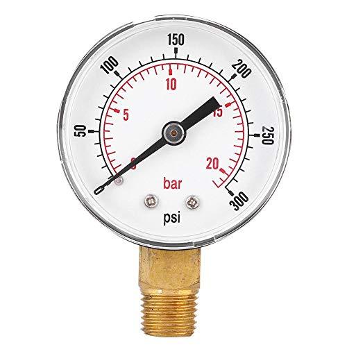 1/4 BSPT Manometer, 50mm Manometer für Kraftstoff, Luft, Öl, Gas, Wasser und Andere nicht Korrosive Medien(0-300psi 0-20bar)