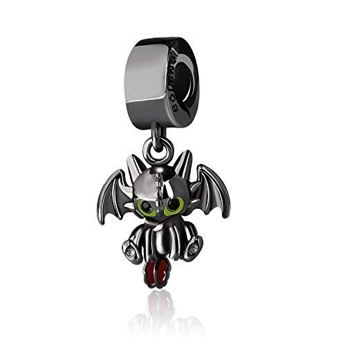 BOLENVI Black Dragon 925 Sterling Silver Dangle Pendant X Charm Bead For Pandora & Similar Charm Bracelets or Necklaces