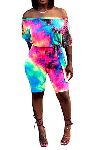 Women Casual Off The Shoulder Rainbow Print Belted Romper Jumpsuits S-XXL