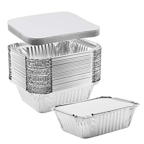 NYHI 50-Pack Extra Small Disposable Aluminum Oblong Foil Pans with Lid Covers Recyclable Tin Food Storage Tray for Cooking, Baking, Meal Prep, Takeout - 1 lb-5.75'' x 4.75'' x 1.75'