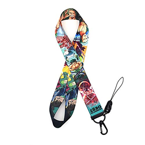 RedDoor_Hill One Piece Lanyard Watercolor Printing Lanyards Phone Case Anime Roronoa Zoro Lanyard for Keys Badge Holders Keychain