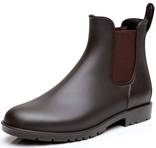 Nzcm Kurze Damen Gummistiefel Herren Regenstiefel Wasserdicht Lack Regen Schuhe Ankle Chelsea Boots Gummi Stiefel mit Blockabsatz Braun Gr.37