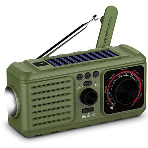 ZRY 3 en 1 al aire libre de emergencia solar Radio-manivela NOAA tiempo portátil Radio-2200mAh Banco de energía USB cargador LED linterna