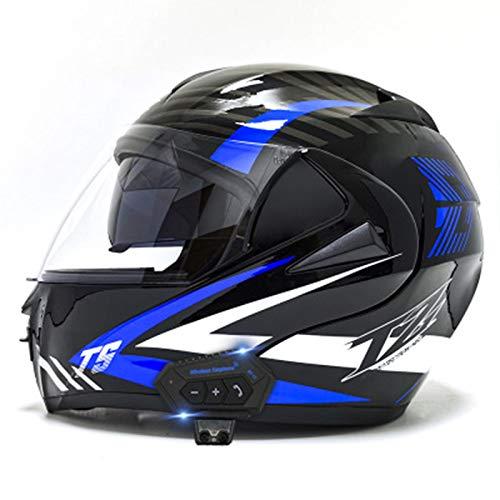 Motorcycle Helmets, Bluetooth Modular Flip Helmet Dual Visors Full Face Helmets, DOT/ECE Approved Helmet,Built-in Speaker Microphone for Men and Women 15,S=(55~56CM)