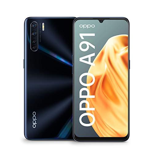 OPPO A91 Smartphone (16,2 cm (6,4 Zoll)) 128 GB interner Speicher, 8 GB RAM, AMOLED Display, Dual nano-SIM, 48 MP Ultraweitwinkel Makro Quad-Hauptkamera lightening black – inkl. Schutzcover