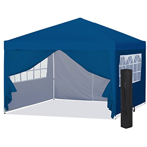 Best Choice Products 10x10ft Lightweight Portable Instant Pop Up Canopy Shade Shelter Gazebo Tent w/Carry Case and Side Walls, Blue