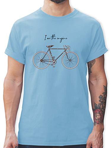 Radsport - I am The Engine - M - Hellblau - Tshirt Herren da Motor Bin ich Fahrrad - L190 - Tshirt Herren und Männer T-Shirts