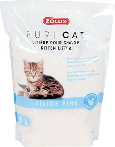 Pure Cat Katzenstreu, ideal für Babykatzen und sensible Katzen, Siliziumdioxid, 5 l, bequem, absorbierend, biologisch abbaubar