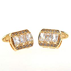 Simple and versatile Rhinestone Diamond Metal Cufflinks