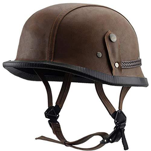 Casco Semicubierto para Motocicleta,Casco De Cara Abierta, Moto De Estilo Retro Homologado D.O.T Casco Alemán De La Segunda Guerra Mundial M-XL(57-62cm)