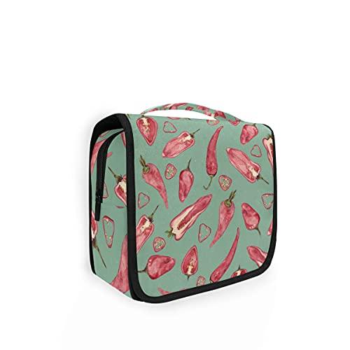Bolsa de aseo colgante con estampado de chile y pimienta caliente para viajes, bolsa de lavado grande, organizador para mujeres, niñas, niños, bolsa de ducha