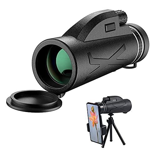 JahyElec Telescopio Monocular 80X100 HD Monocular Impermeable monoculo telescopio portatil para Viajes de Caza senderismo turismo juego de pelota, con Adaptador de Soporte para Smartphone y trípode