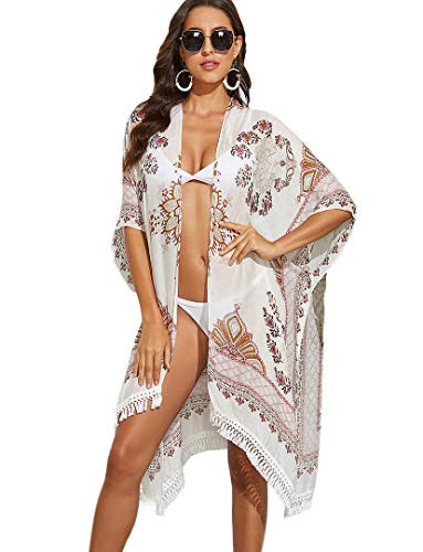 Women's Beach Cover ups Printed Swimsuits Tassel Bohemian Kimono Cardigan Floral F