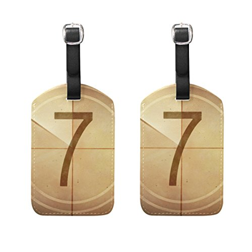 COOSUN Countdown Seven On The Old Movie Screen Luggage Tags Travel Labels Tag Name Card Holder for Baggage Suitcase Bag Backpacks, 2 PCS