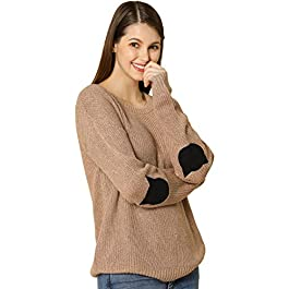 Allegra K Women's Pullover Drop Shoulder Elbow Cat Patch Loose Sweater Pullover Jumper