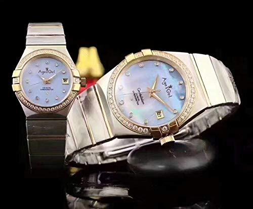 HHBB Marca de lujo de plata oro blanco automático mecánico acero inoxidable zafiro reloj diamante bisel perla azul hombre perla perla