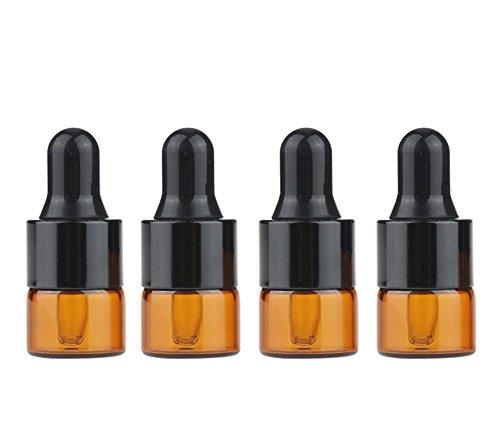 Furnido Lot de 15 Mini Flacons en Verre Ambre Rechargeables avec Pipette pour Huile Essentielle, Parfum, Échantillon de Cosmétique