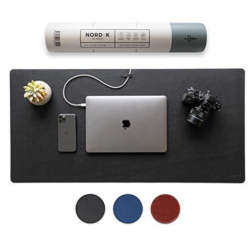 Nordik Leather Desk Mat Cable Organizer (Pebble Black 35 X 17 Inch) Premium Extended Mouse Mat For Home Office Accessories - Felt Vegan Large Leather Desk Pad Protector & Desk Blotter Pads Decor