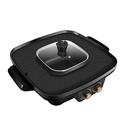 HKJZ SFLRW 2 en 1 Parrilla eléctrica sin Humo y Olla Caliente 110V Split Fácil Limpieza de la Temperatura Dual Control