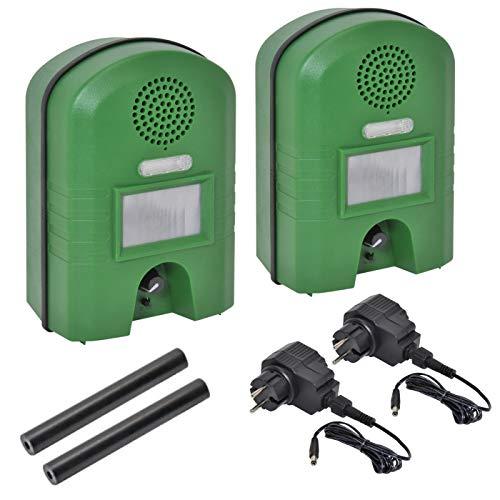 VOSS.sonic Doppelpack: 2 x Ultraschallabwehrgerät mit Bewegungsmelder & Blitz + 2X Outdoornetzteil gegen Marder Katzen und Waschbären Ultraschallvertreiber Tiervertreiber
