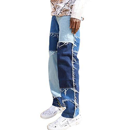 Mugoebu Gerade Geschnittene Herrenjeans Aus Farbigen Patch-Patches, Lockere Jeans-Hosen Mit Geradem Bein Und Ausgefranste Patch-Work-Hose (Blau, M)