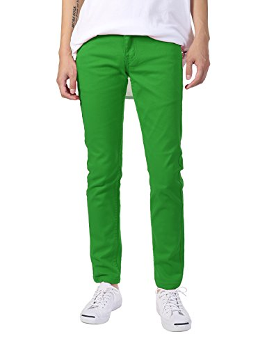 JD Apparel Men's Basic Casual Colored Skinny Fit Twill Pants 30Wx30L Kelly Green