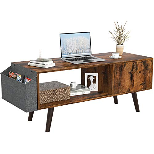 Retro Coffee Table, Mid-Century Coffee Table with Storage Shelf for Living Room, Modern Wood Look Coffee Table with Storage Bag and Cabinet, Easy Assembly, Rustic Brown