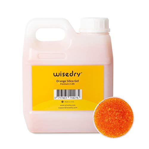 wisedry Silica Gel Desiccant Beads Bulk Reusable with Color Indicating - 2LBS, Bead Size 2-4 mm, Rechargeable