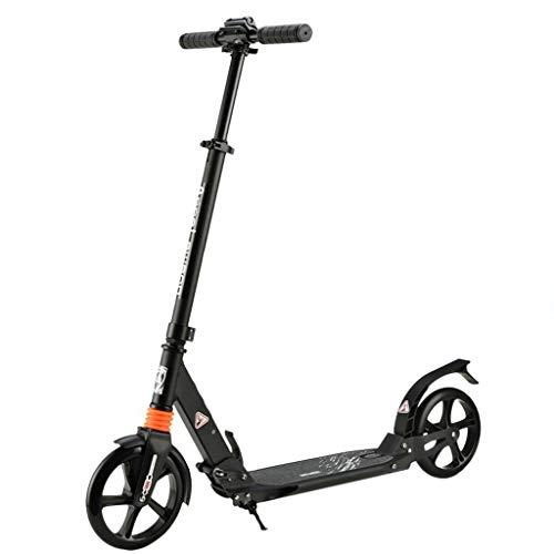 GTYMFH Scooter de pie Los niños Adolescentes Ultra Altura Ajustable -Ligero Fácil portátil Plegable Saave Espacio con Ruedas de aleación Suave y rápido Paseo Scooter de Ciudad (Color : Black)