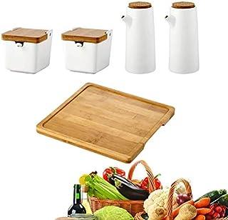 Oil Bottle Ceramic Oil Vinegar Dispenser Bottle Oil Kitchen Oil Reservoir Leakproof Spout Dustproof, Seasoning Sauce Box C...