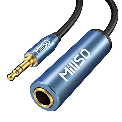 MillSO Adaptador de clavija jack de 3,5 mm a conector hembra de 6,35 mm, TRS 1/4 a 1/8, cable adaptador de audio estéreo con contactos dorados de 24 K para auriculares, altavoces y piano – 20 cm